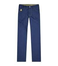 Billionaire Urban Fit Embroidered Crest Jeans Male Royal