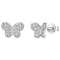 Jools By Jenny Brown Cubic Zirconia Butterfly Stud Earrings Silver