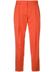 Paul Smith Straight Pleated Trousers Women Wool 40 Yellow Orange