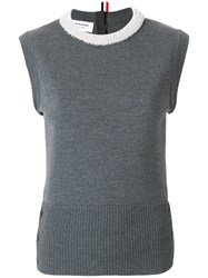 Thom Browne Pearl Applique Wool Shell Top Grey