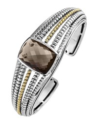 Lagos Two Tone Smoky Quartz Medium Cuff Bracelet Women's
