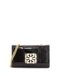 Badgley Mischka Corinne Snake Evening Clutch Bag Black