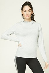 Forever 21 Active Heathered Knit Hoodie Heather Grey