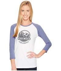 The North Face Sierra 3 4 Sleeve Baseball Tee Tnf White Coastal Fjord Blue Heather Women's T Shirt