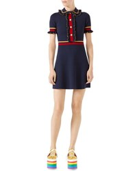 Gucci Short Sleeve Stretch Wool Polo Dress Blue