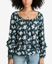 Denim And Supply Ralph Lauren Boho Off The Shoulder Blouse Blue Floral