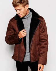 Barney's Barneys Faux Shearling Biker Jacket Brown