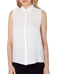 Tahari By Arthur S. Levine Scalloped Sleeveless Blouse White