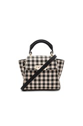 Zac Posen Eartha Iconic Mini Gingham Straw Top Handle Black