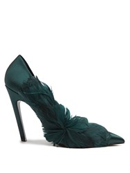 Balenciaga Feather Embellished Satin Pumps Dark Green