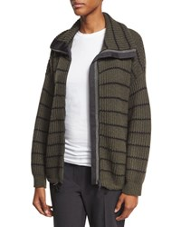Brunello Cucinelli Striped Knit Zip Front Cashmere Sweater Green
