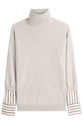 Brunello Cucinelli Cashmere Pullover With Contrast Striped Sleeves Grey