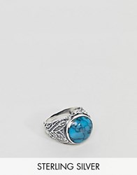 Asos Design Chunky Sterling Silver Ring With Stone In Turquoise