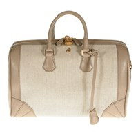 Treccani Milano Canvas And Leather Satchel Grey