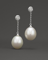 Bloomingdale's Cultured Freshwater Pearl And Diamond Drop Earrings In 14K White Gold No Color