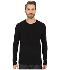 Michael Stars Long Sleeve Henley Black Men's Clothing