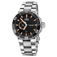 Oris 01 743 7673 4159 07 8 26 01Peb Men's Aquis Small Second Date Automatic Bracelet Strap Watch Silver Black