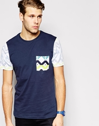 Another Influence T Shirt With Contrast Pocket Blue