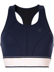 Lndr Contrast Logo Stripe Sports Bra Blue