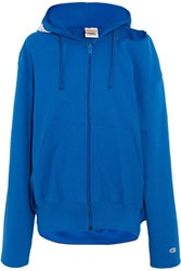 Vetements Champion Oversized Cutout Cotton Blend Jersey Hooded Top Blue