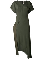 Marni Asymmetric Wrap Dress Women Silk Cotton Acetate 38 Green