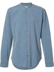 Vince Nehru Collar Denim Shirt Blue