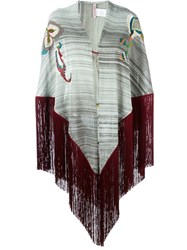 Antonio Marras Embroidered Fringed Shawl Grey