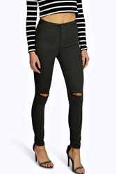 Boohoo Ripped Knee High Waist Skinny Jeans Khaki