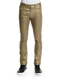 Versace Straight Leg Metallic Waxed Jeans Green
