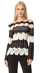 Yigal Azrouel Off Shoulder Lace Top Jet Multi