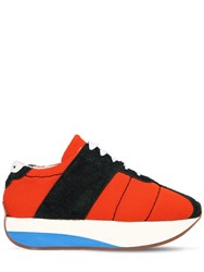 Marni 40Mm Suede And Mesh Platform Sneakers Orange Green