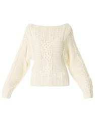 Red Soul Cable Knitted Cardigan Off White