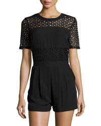 Neiman Marcus Short Sleeve Lace Romper Black