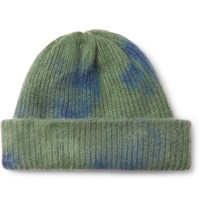 The Elder Statesman Ribbed Tie Dyed Cashmere Beanie Blue