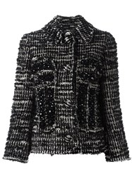 Simone Rocha Beaded Tweed Fitted Jacket Black