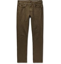 Outerknown Drifter Slim Fit Garment Dyed Organic Denim Jeans Army Green