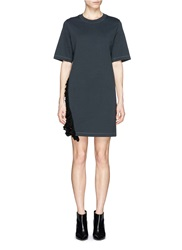 3.1 Phillip Lim Crochet Ruffle Trim Cotton Jersey T Shirt Dress Black
