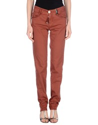High Denim Denim Trousers Women Brick Red