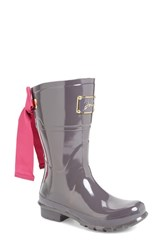 Joules Women's Evedon Short Rain Boot Slate Grey