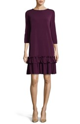 Eci Aline Ruffle Trim Shift Dress Purple