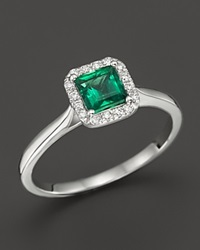 Bloomingdale's Emerald And Diamond Ring In 14K White Gold Green