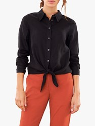 Pure Collection Linen Tie Hem Shirt Black