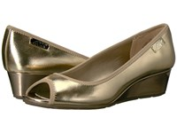Anne Klein Camrynne Gold Gold Synthetic Women's Wedge Shoes