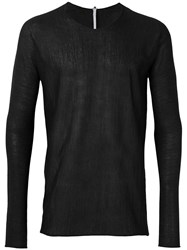 Label Under Construction Arched Raw Edge Jumper Men Silk Acetate Cashmere 50 Black