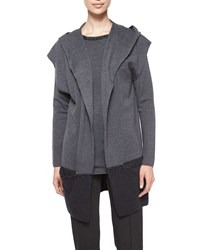 Escada Embellished Chain Detail Hooded Sweater Gray