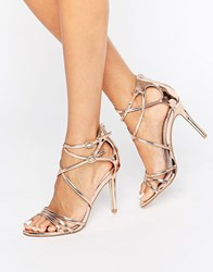 Faith Lizzie Rose Gold Strappy Heeled Sandals Rose Gold