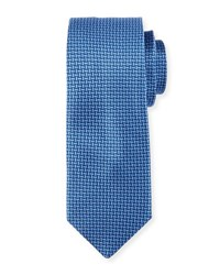 Neiman Marcus Natte Woven Printed Tie Blue Red