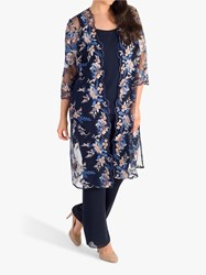 Chesca Embroidered Mesh Coat Navy