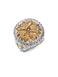 John Hardy Batu Kawung Citrine Garnet Spessartine 18K Yellow Gold And Sterling Silver Ring Silver Yellow