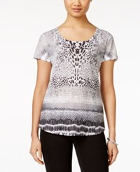 Styleandco. Style And Co. Printed Short Sleeve Top Only At Macy's Wild Sapphire